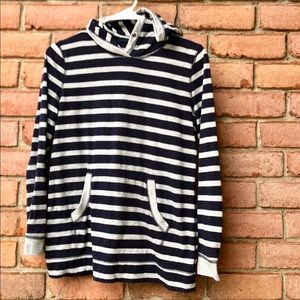 Talbots Lightweight Navy/Gray Striped Hoodie